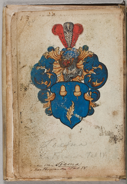 Wapen en portret / van een lid van het geslacht Sixma in het album amicorum van Poppe van Feytsma (-1583)