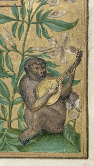 Monkey playing lute from BL Harley 3469, f. 2