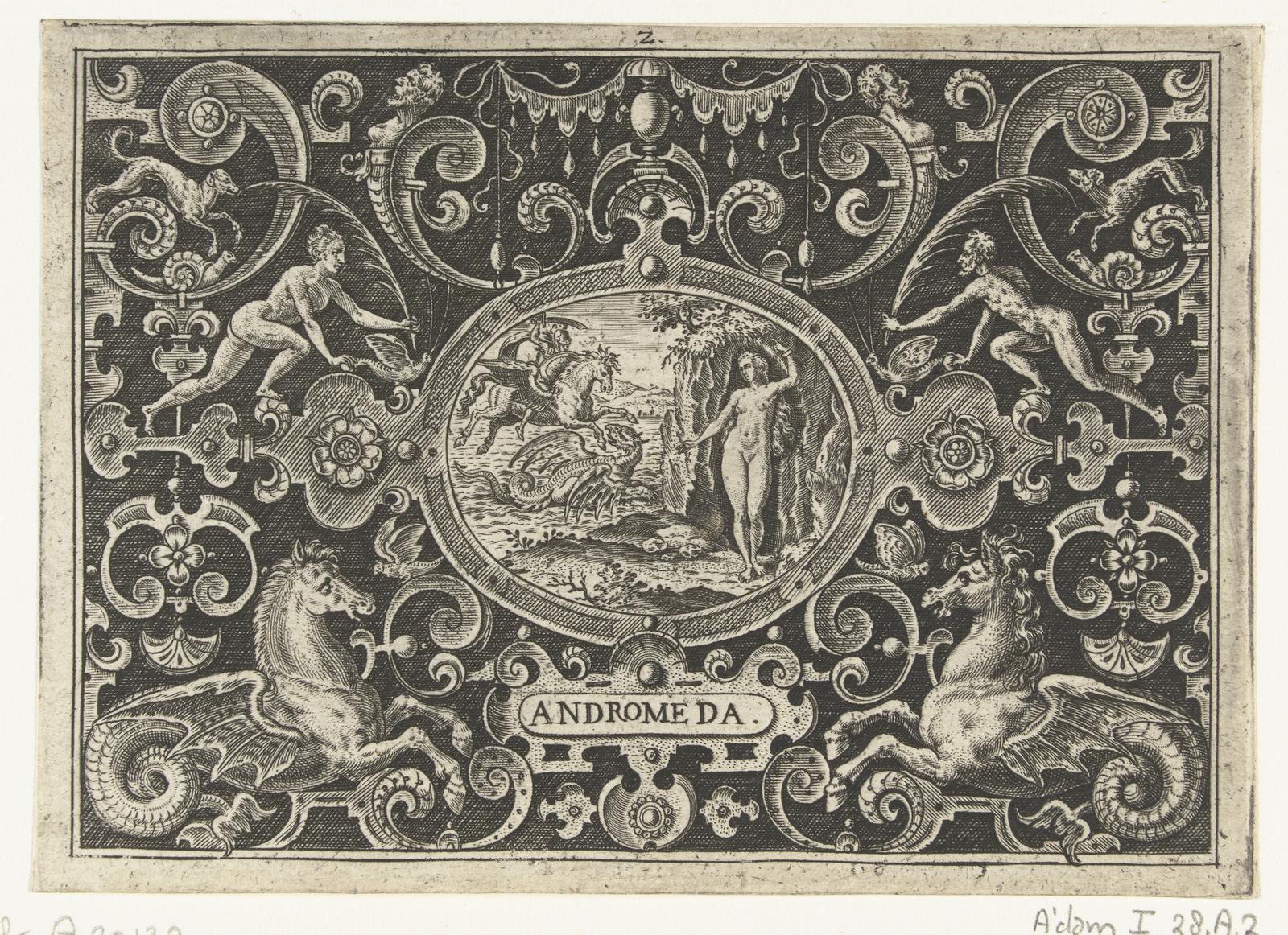 Cartouche: Perseus bevrijdt  Andromeda