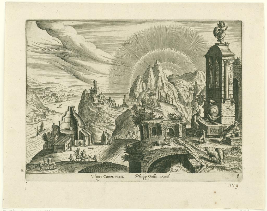 Landschap met ruïne en een fontein