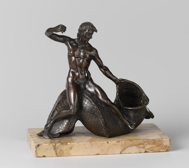 Salt cellar or inkwell with a youth on a sea monster