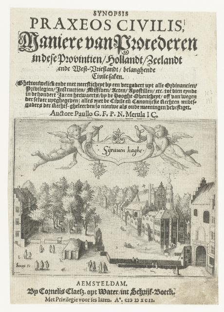 Titelblad van 'Maniere van Procederen' met een gezicht op de Vijverberg en het Binnenhof te Den Haag