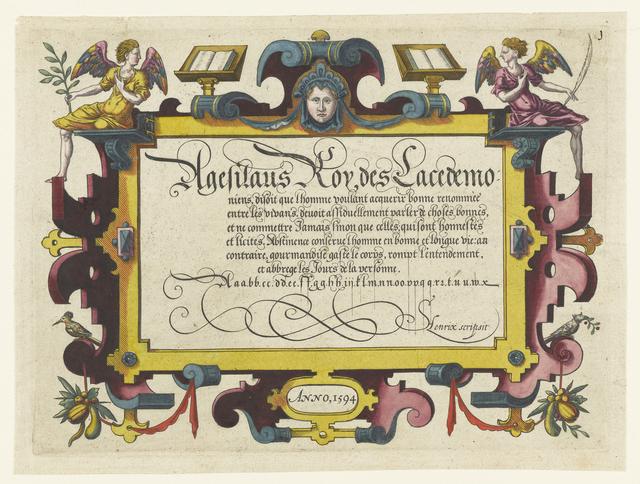 Rechthoekige cartouche met Franse tekst en lettervoorbeelden