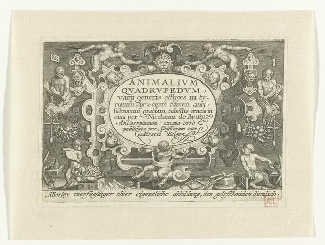 Titelprent met titel in cartouche met daaromheen apen aan het werk als goudsmid