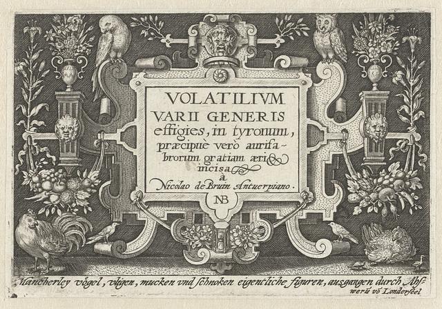 Titelprent met titel in cartouche met ornamenten en vogels