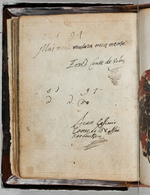 Albuminscriptie / van Jean Casimir conte de Nassau Sarbrucken (1577-1602), voor Bernardus Paludanus (1550-1633)
