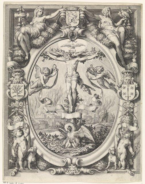 Blazoen van de rederijkerskamer De Pellicaen te Haarlem, met de kruisiging in allegorische omlijsting