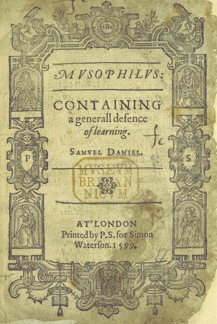 "cover from ""The Poeticall Essayes of Sam. Danyel. Newly corrected and augmented. [Containing ""The First Fowre Bookes of the Civile Wars,"" ""The fyft Booke of the Civill Warres,"" ""Musophilus,"" ""A Letter from Octavia to Marcus Antonius,"" ""The Tragedie of Cleopatra,"" and ""The Complaint of Rosamond.""]"""