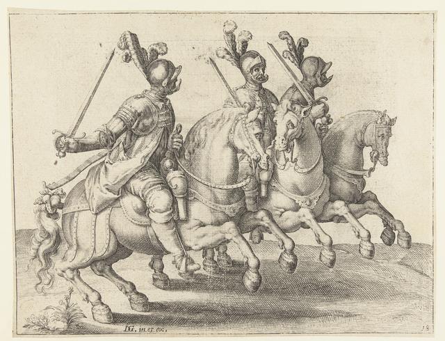 Drie ruiters met getrokken zwaarden, naar links gekeerd