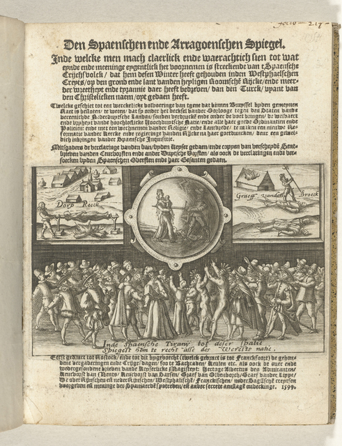 Titelpagina van het pamflet: Den Spaenschen ende Arragoenschen spiegel. Inde welcke men mach claerlick ende waerachtich sien tot wat eynde ... het voornemen is ... van 't Spaensche Crijchsvolck, dat hem desen Winter heeft gehouden in den Westphaelschen Creyts, 1599