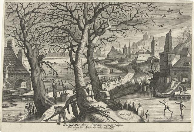 Winter, een landschap met houthakkers