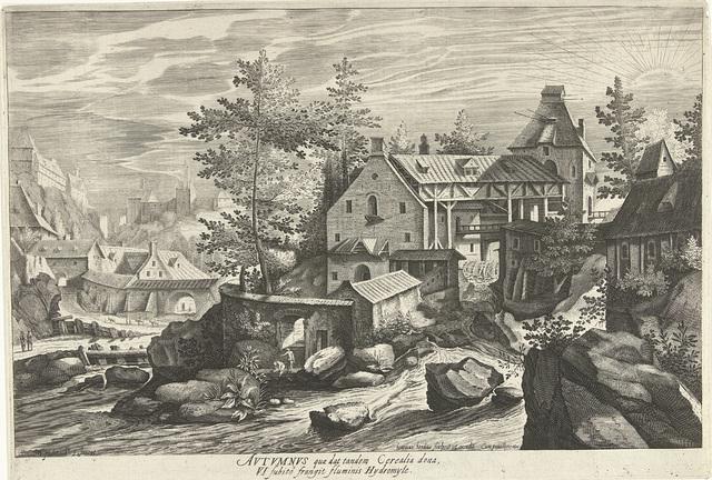 Herfst, een landschap met een dorp aan een rivier
