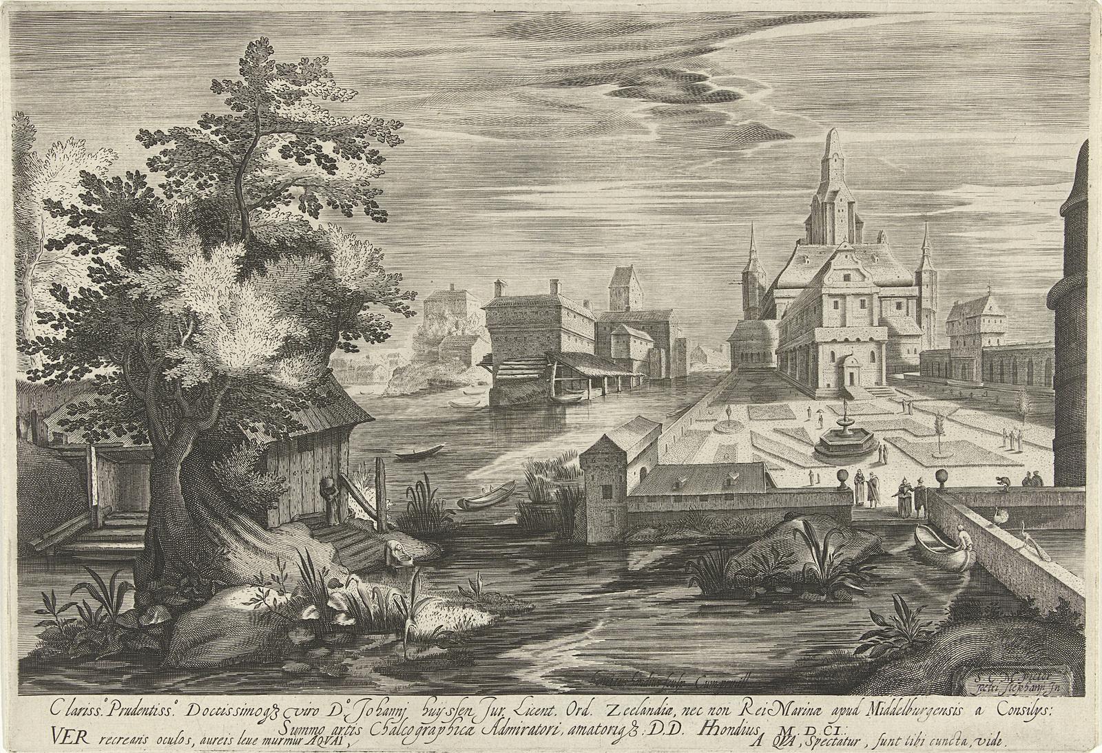 Lente, een landschap met een kasteel