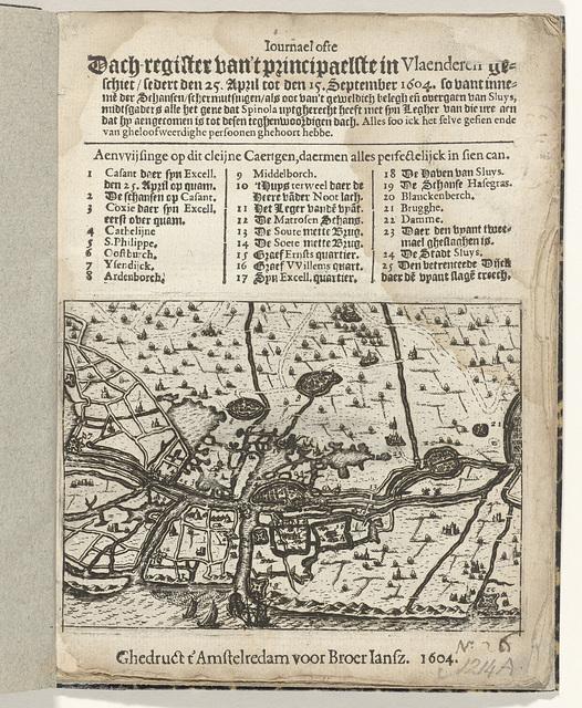 Titelpagina van het pamflet: Journael ofte Dach-register van 't principaelste in Vlaenderen geschiet, sedert den 25 april tot den 15 September 1604, so vant inneme des Schansen, schermutsingen, als ooc van 't geweldich belegh en overgaen van Sluys, 1604