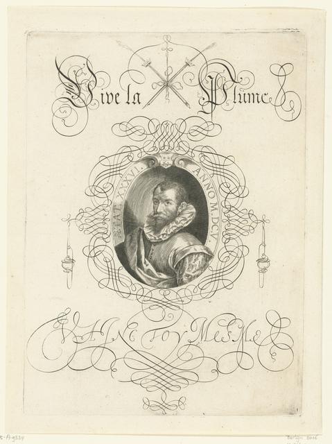 Cartouche met daarin een zelfportret van Boissens