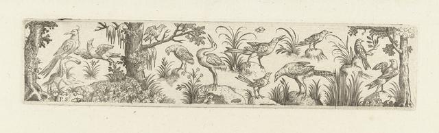 Fries met elf vogels, aan beide uiteinden staat een boom