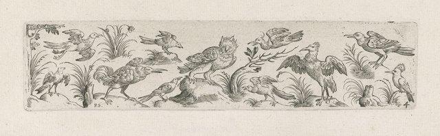 Fries met elf vogels, aan het linker uiteinde van het fries staat een boom