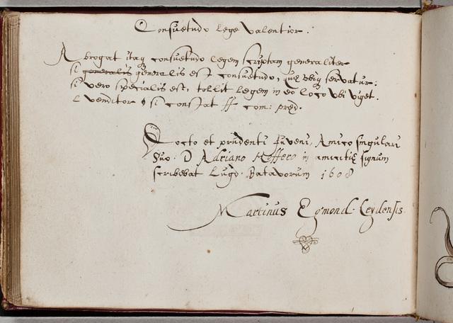 Albuminscriptie van / Martinus Egmond, voor Adrianus Hofferus (1589-1644)