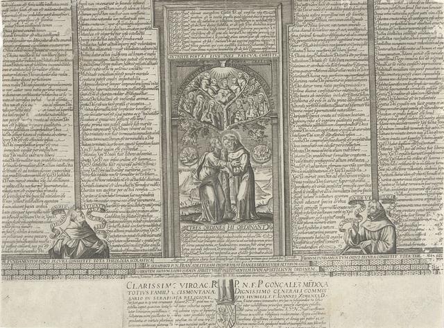 Christus en de heilige Franciscus bij een boom met heiligen
