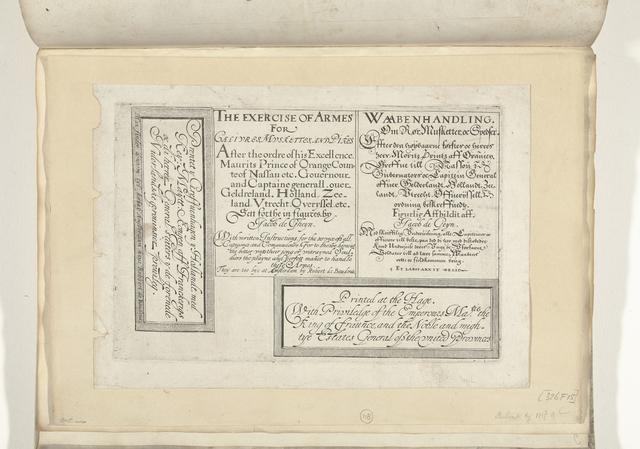 Los blad met de titel en de privileges in Engels en Deens, 1608
