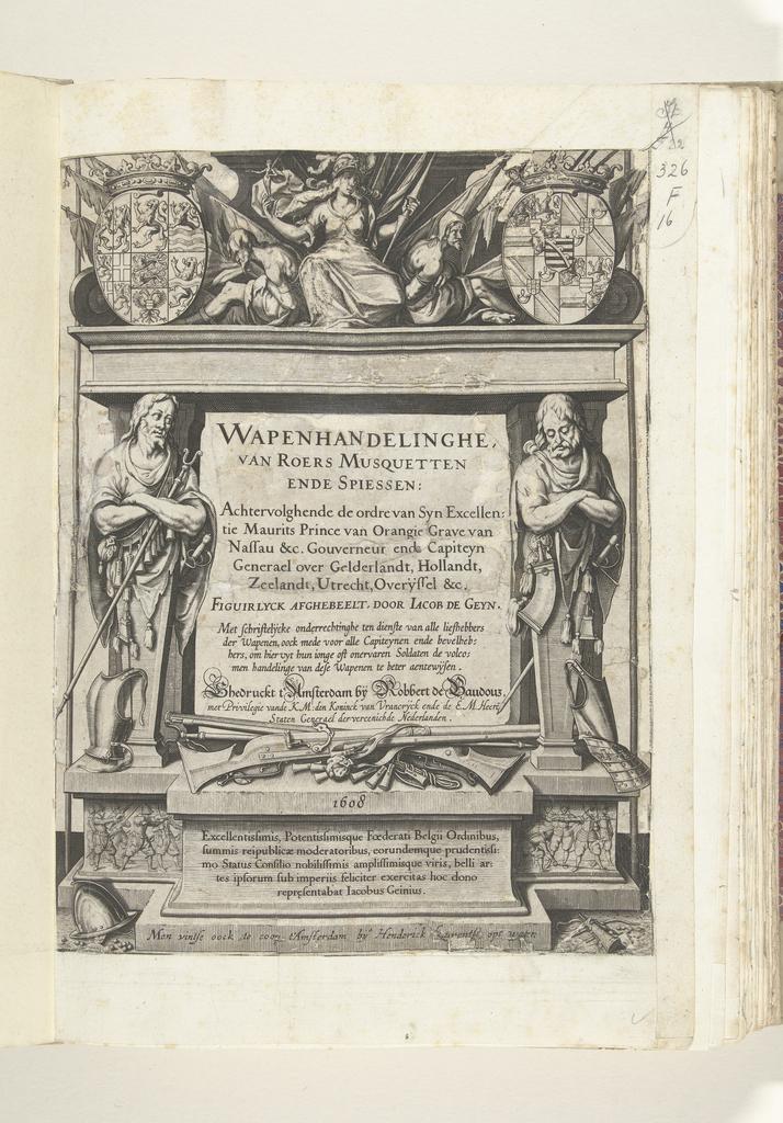 Titelpagina voor Jacob de Gheyns Wapenhandelinghe van Roers Musquetten ende spiessen, 1608