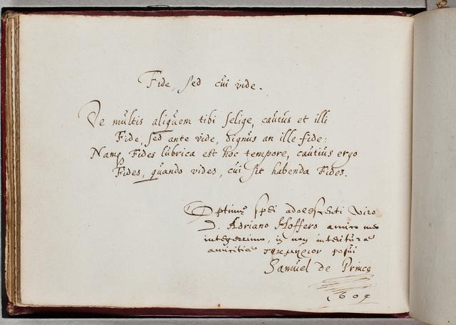Albuminscriptie van / Samuel de Prince, voor Adrianus Hofferus (1589-1644)