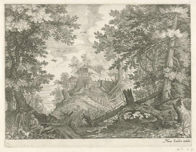 Boslandschap met twee jagers en een hond