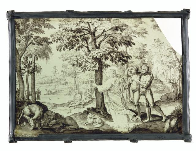 Ruit met Adam en Eva in het paradijs