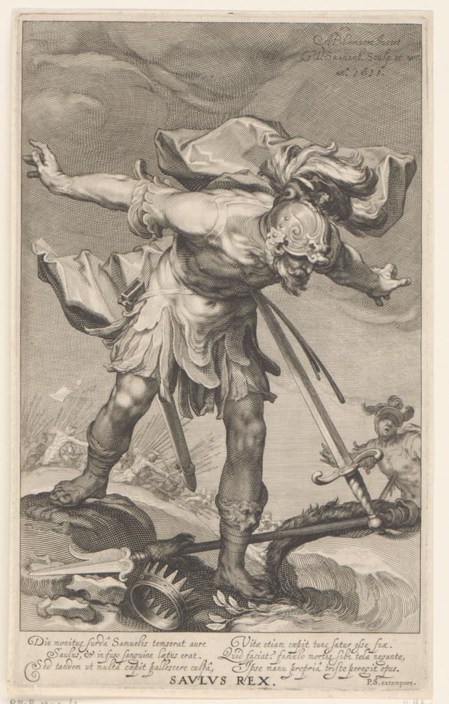 Koning Saul stort zich in zijn zwaard
