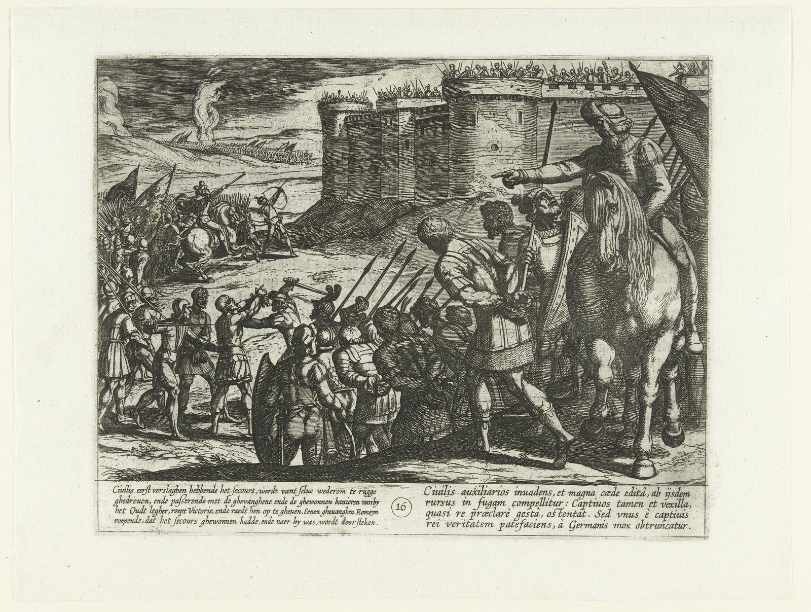 Romeinse gevangen langs de vesting geleid, 69-70