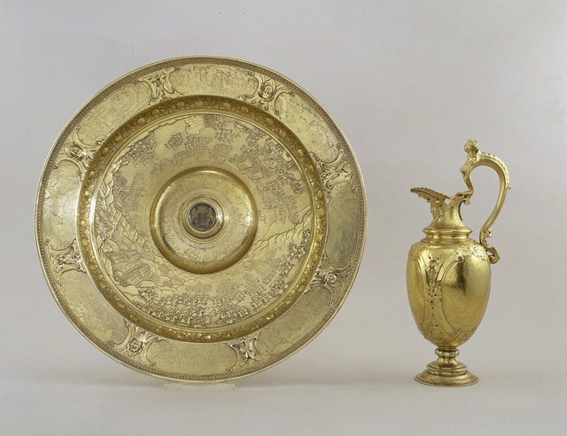 Ewer and basin with scenes of land and sea battles during the Eighty Years' War