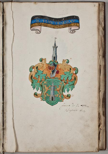 Inscriptie / van François de la Torre (ca. 1588-1662), uit Den Haag, in het album van de Nederlandse Natie te Angers