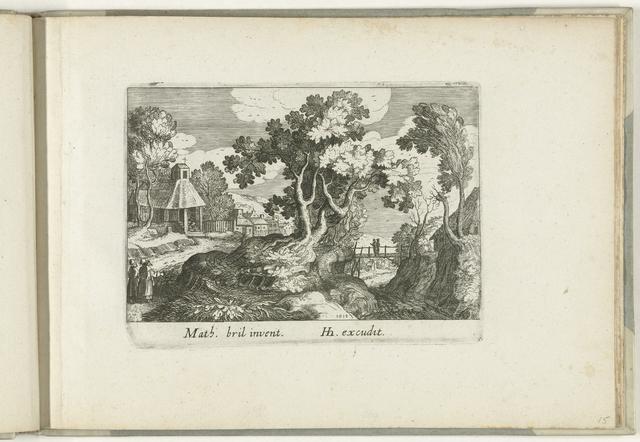 Landschap met links twee wandelaars en een dorpskerk