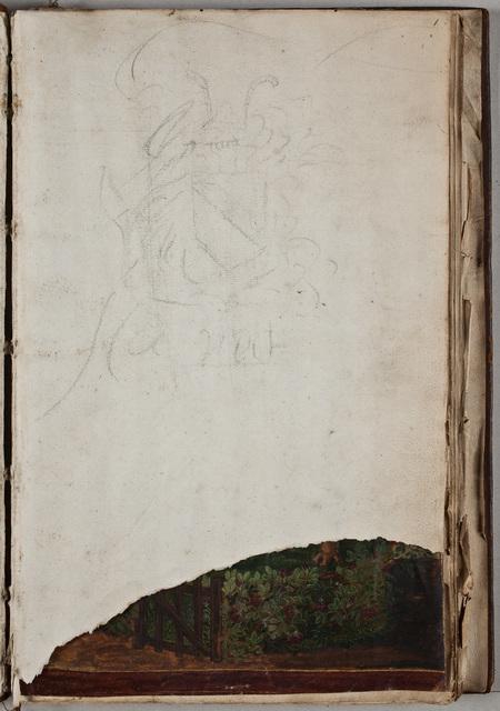 Wapens van de Zeventien Verenigde Provinciën, een afbeelding van de Hollandse Tuin met daarin een portret van Maurits, prins van Oranje (1567-1625), in het album van de Nederlandse Natie te Angers