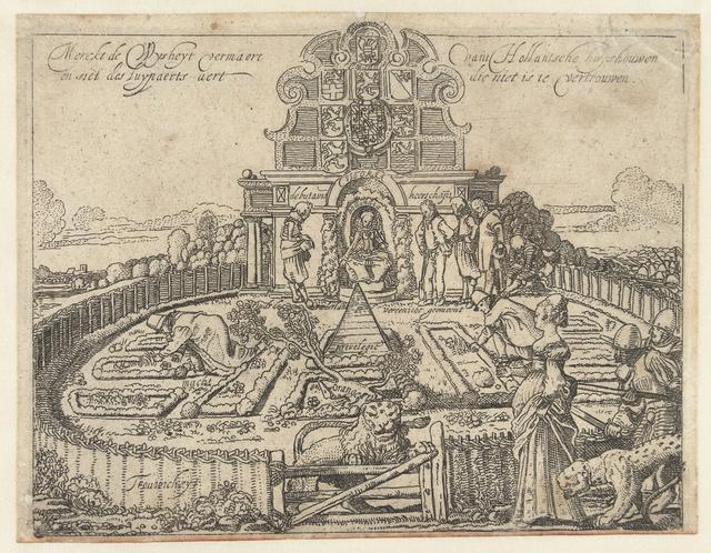 Allegorie op de onbetrouwbaarheid van Spanje en de vrijheid en welstand van de Zeven Provinciën: de Hollandse Tuin