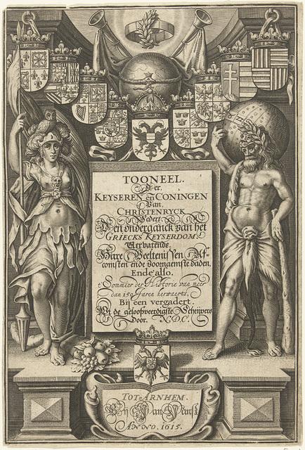Hercules en Minerva staand aan weerszijden van cartouche met titel, bekroond met wapenschilden, globe en bazuinen