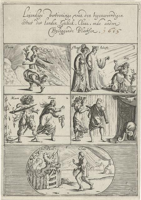 Zinneprent tegen het Bestand en op den Gulikse oorlog, 1615