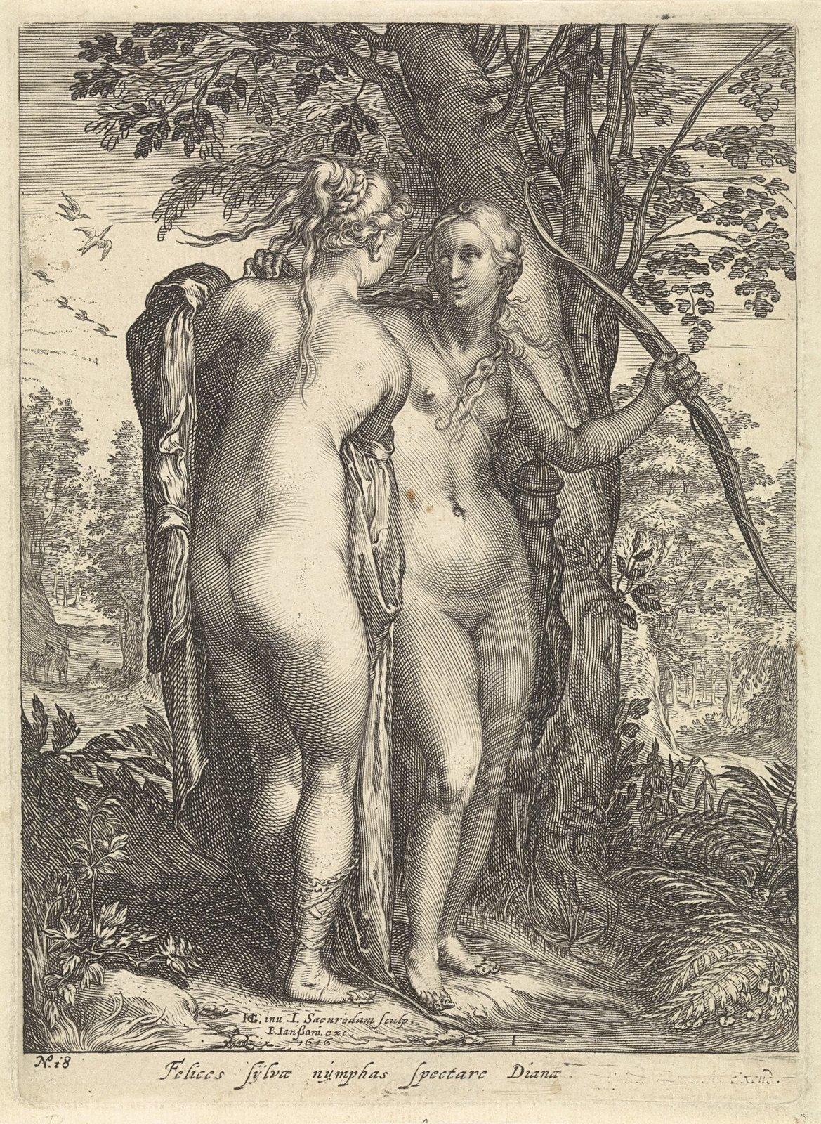 Diana en een nimf voor een boom