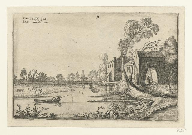 Landschap met een rivier en poortgebouw