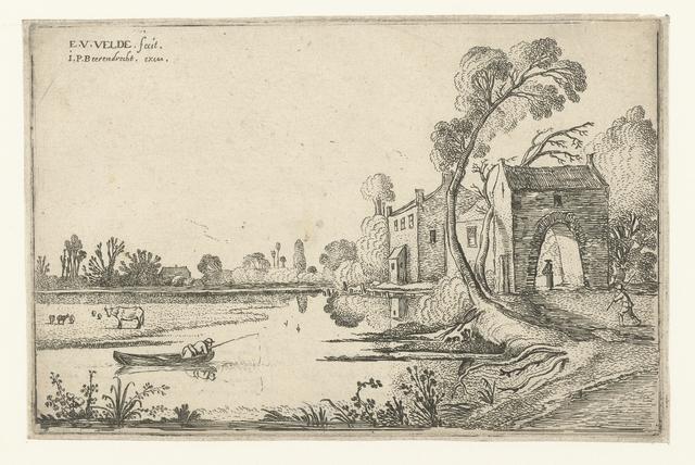 Landschap met rivier en poortgebouw