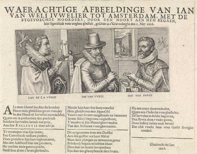 Portretten van Jan van Wely en zijn beide moordenaars, 1616