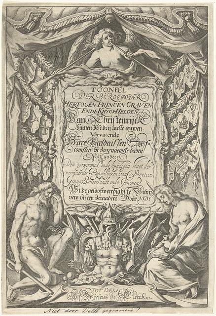 Cartouche met titel en allegorische figuren Vader Tijd en Geschiedenis
