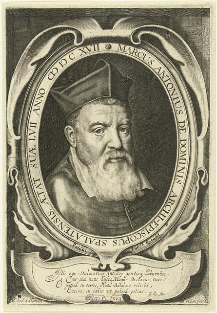 Portret van aartsbisschop Marcus Antonius de Dominis op 57-jarige leeftijd