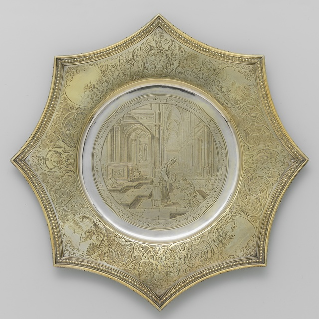 Pointed salver with Hannah and Samuel
