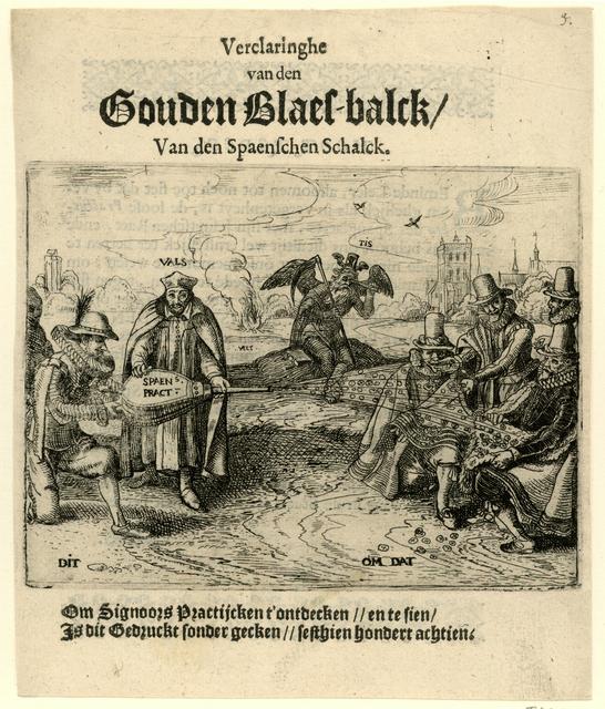 Titelprent van het pamflet uit 1618 getiteld: Verclaringhe van den Gouden Blaes-balck