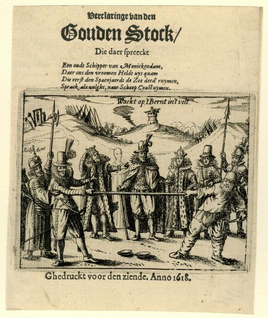 Titelprent van het pamflet: Verclaringe van den Gouden Stock, 1618
