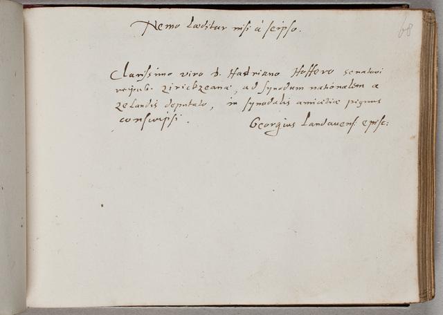 Albuminscriptie van / Georgius Carleton (1559-1628), theoloog, voor Adrianus Hofferus (1589-1644)
