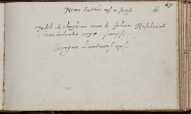 Albuminscriptie van / Georgius Carleton (1559-1628), theoloog, voor Johannes Rufelaert (-1621)