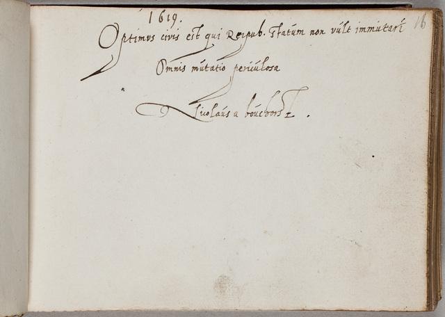 Albuminscriptie van / Nicolaas van den Bouchorst (-1641), heer van Noordwijk en Wimmenum, diplomaat, voor Adrianus Hofferus (1589-1644)
