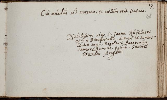 Albuminscriptie van / Samuel Wardus (1577-1643), theoloog, hoogleraar te Cambridge, voor Johannes Rufelaert (-1621)